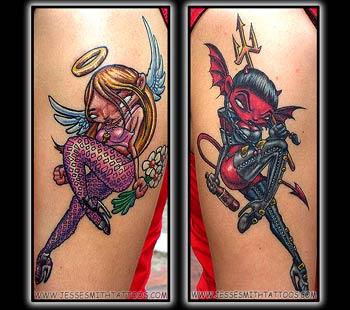 7d3c0b499946d Impish or naughty devil tattoo character partaking in rude behavior