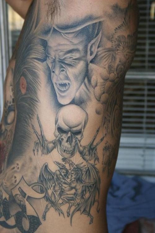 devil girl naket tattoos